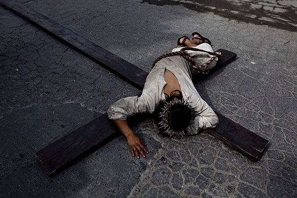 Re-enactment of crucifixion - Monterey, Mexico