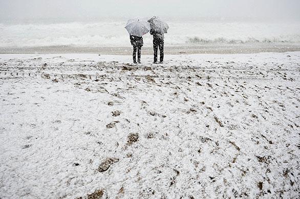 Snowstorm on Barcelona Beach