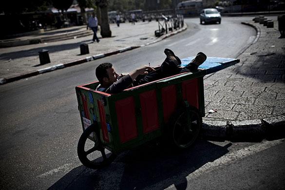 A vendor takes a break in Jerusalem