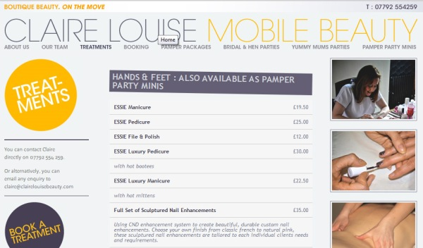 Claire Louise Mobile Beauty - treatments page detail