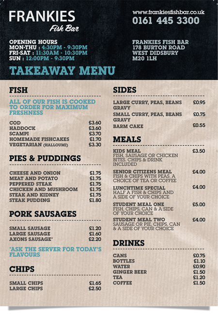 Frankie's Fish Bar, West Didbsury - Takeaway Menu