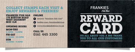Frankie's Fish Bar, West Didsbury - Loyalty Card