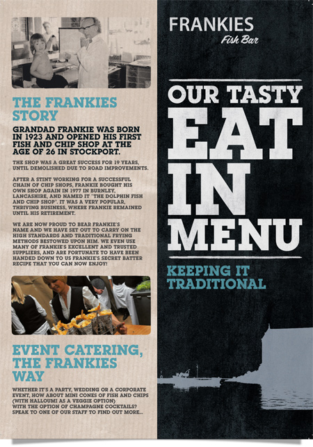 Frankie's Fish Bar, West Didsbury - Menu Front & Back