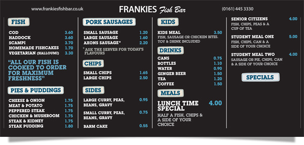 Frankie's Fish Bar, West Didsbury - Wall Menu Board
