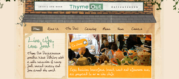 Thyme Out Delicatessen website