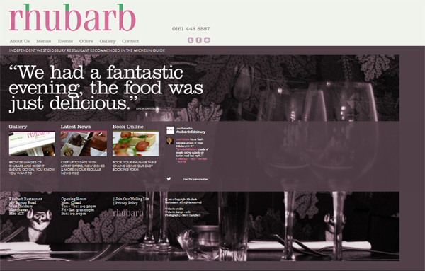 Rhubarb Restaurant - editable CMS added to website