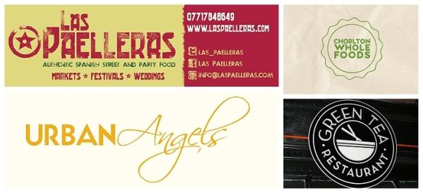 Las Paelleras banners, Chorlton Wholefoods, Urban Angels Didsbury & Green Tea West Didsbury